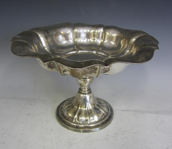 An Edwardian silver pedestal bowl,  by Z Barraclough and Sons,   Sheffield 1908,