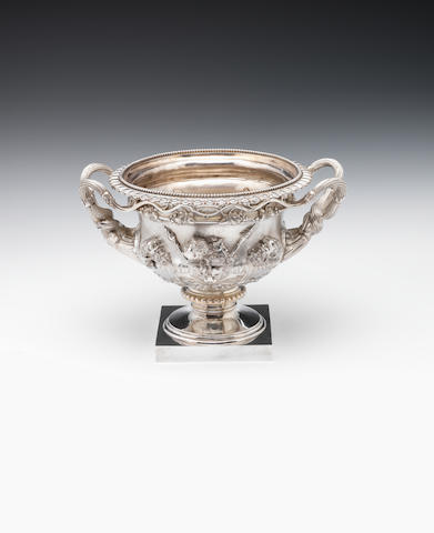 "A silver bowl modelled as ""The Warwick Vase"", by Charles Stuart Harris & Sons, London 1920  (2)"