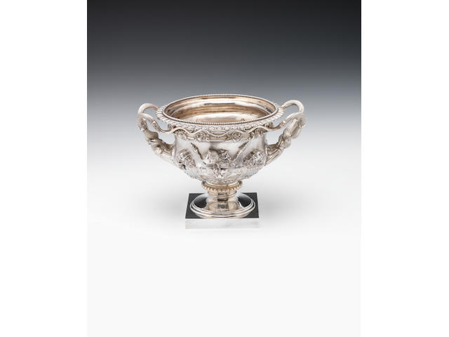 "A silver bowl modelled as ""The Warwick Vase"" By Charles Stuart Harris & Sons, London 1920  (2)"