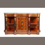 A Victorian inlaid walnut serpentine credenza