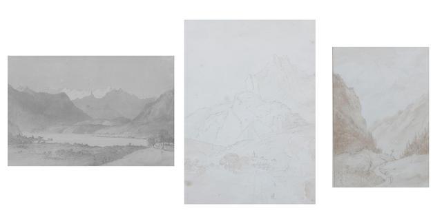 Lady Marianne Mordaunt (British, circa 1778-1842) 'Lac de Zug, Switzerland, 1818'