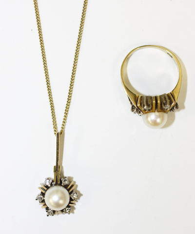 A cultured pearl and diamond pendant and ring,