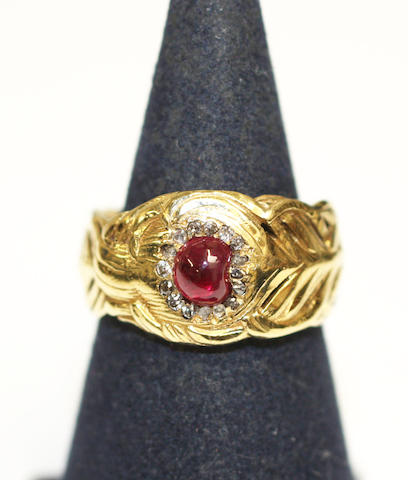 A Yellow gold ring with Ruby