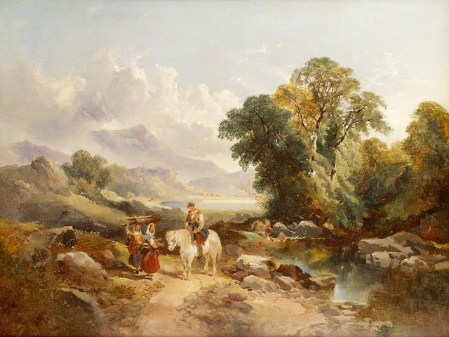 Joseph Horlor (Brtish, 1809-1887) Travellers on a country road