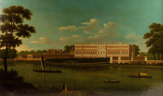 Circle of Joseph Nichols (active Britain, 1692-1760) View of Hampton Court Palace