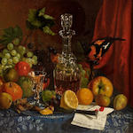 Frederick Warsop (British, 1832-1907) Grapes, apples, lemons, a decanter and a bird on a table