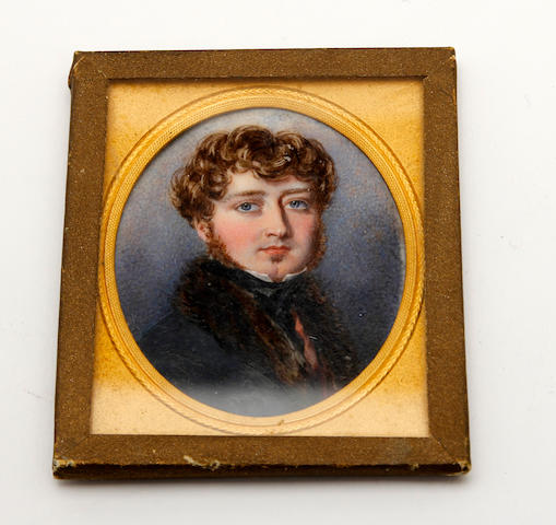 Attributed to Robert Thorburn, ARA HRSA (British, 1818-1885) A portrait miniature of a gentleman, wearing a dark jacket with brown fur collar, oval, on ivory