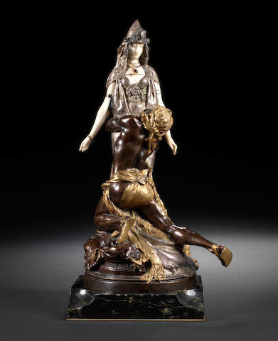 Théodore Rivière, French (1857-1912)  A silvered, gilt and patinated bronze and ivory group of Salammbô at Mathô's entitled Carthage