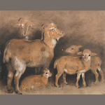 Attributed to Sir Edwin Landseer, R.A. (British, 1802-1873) A study of goats