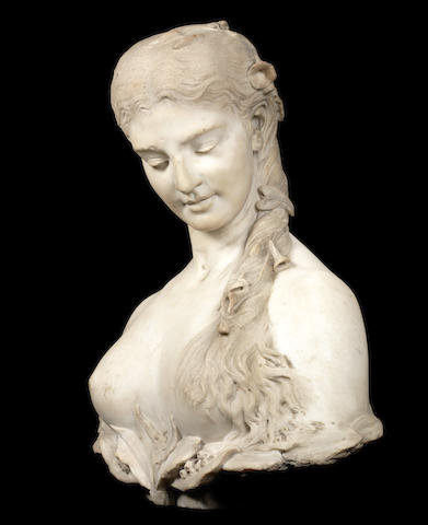 A French mid-19th century white marble bust of Flora