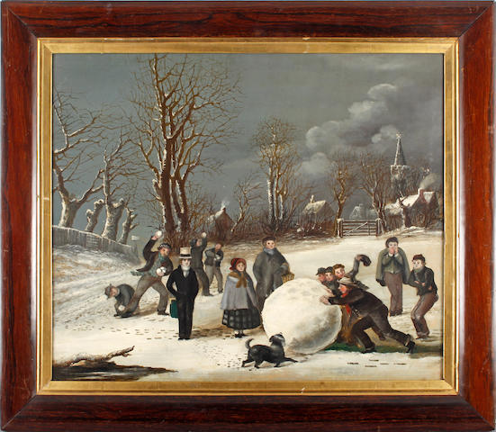 English Naive School, late 19th/early 20th Century Winter landscape with children making snowballs