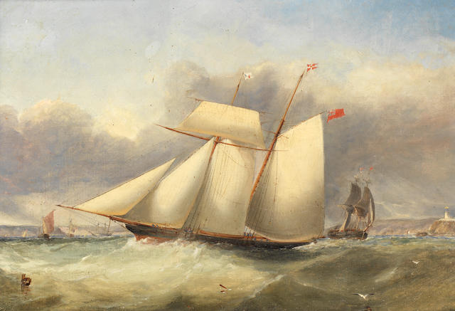Attributed to Edwin Hayes (Irish, 1820-1904) A topsail racing schooner of the Royal St. George Yacht Club tacking across the bay