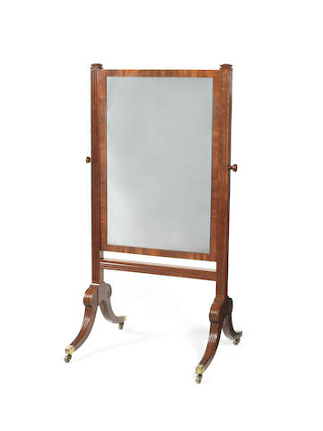A late George III mahogany cheval mirror