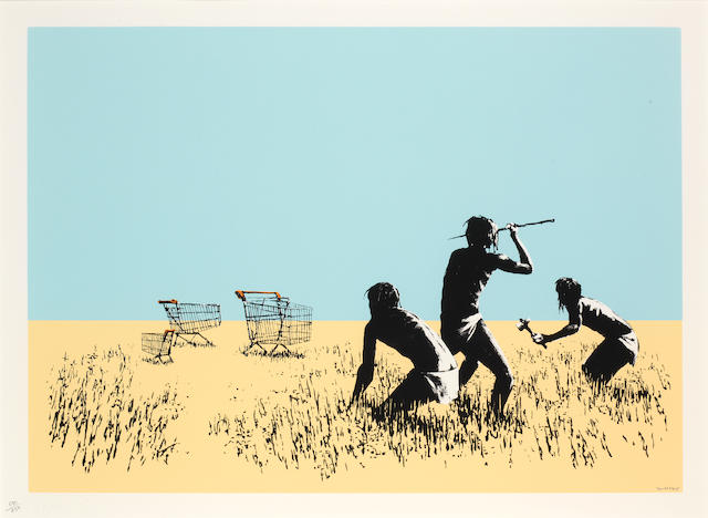 Banksy (British, born 1975) Trolleys (Colour) 2007  signed and numbered 690/750  screenprint on paper  21 5/8 by 29 1/2 in.  55 by 75 cm.  This work was executed in 2007.