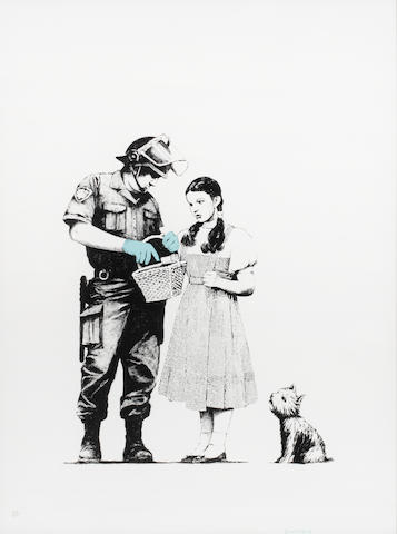 Banksy (British, born 1975) Stop and Search 2007  signed and numbered 392/500  screenprint   29 1/8 by 21 5/8 in.  74 by 55 cm.  This work was executed in 2007.