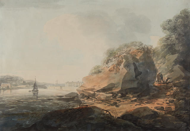 William Payne (British, 1760-1830) Marine Barracks, Longroom and Mt Edgcumbe taken from near Stonehouse Hill, Plymouth