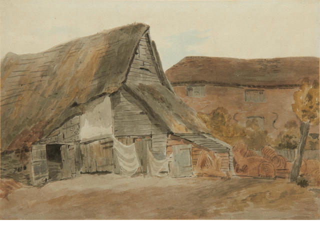 William Henry Hunt, OWS (British, 1790-1864) Cottages near St Albans, Hertfordshire