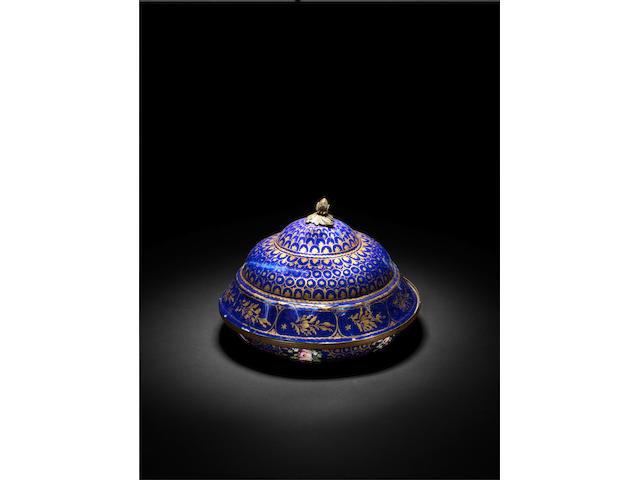 An Ottoman Süleymaniye ware enamelled covered Dish Turkey, late 18th Century(2)