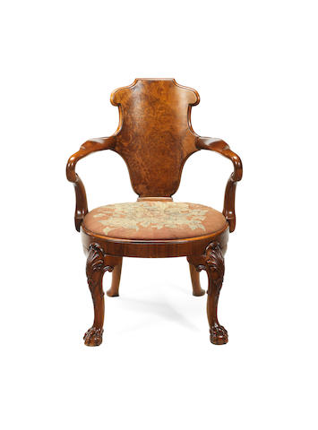 A Victorian walnut and thuya wood 'shepherds crook' armchair by Gillows