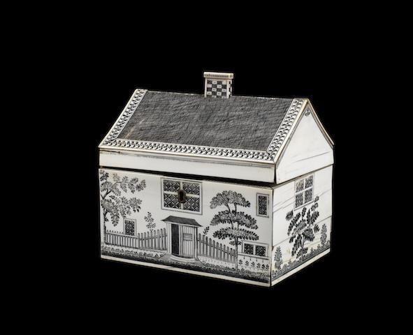 A late 18th century Vizagapatam engraved ivory veneered sandalwood work box