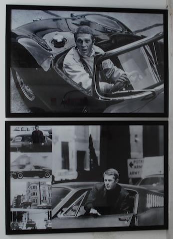 Two large monochrome images of Steve McQueen,