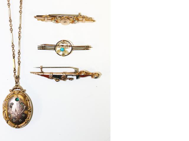 Scottish stone set skeandoo brooch, locket on chain, turquoise set brooch, pearl and diamond brooch