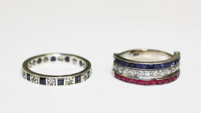 A synthetic ruby, synthetic sapphire and diamond half hoop ring, (2)
