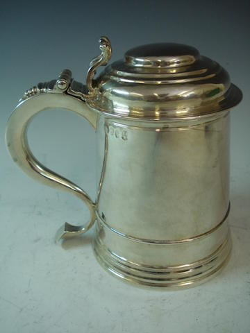 A George I silver lidded tankard, by James Kirkup, Newcastle 1725