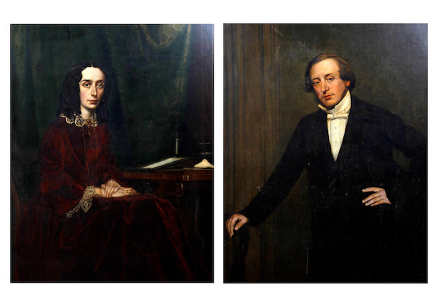 English School, Mid-19th Century Full length portraits of a lady and gentleman, a pair,