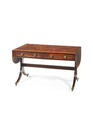 A late George III mahogany and kingwood banded sofa table