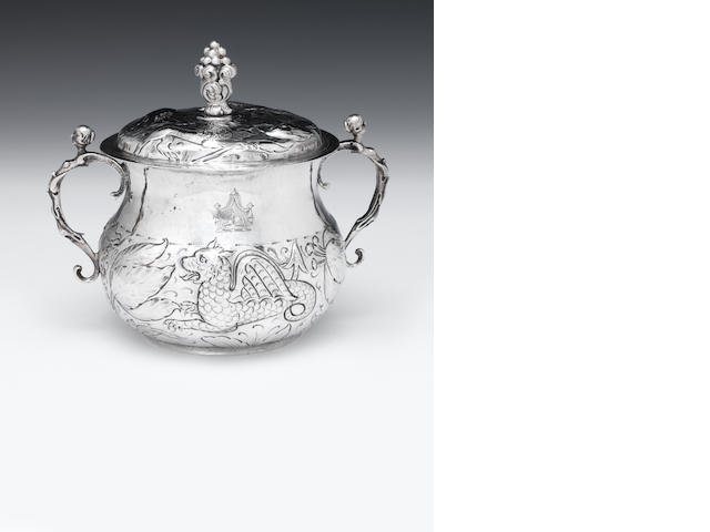 A Charles II silver porringer and cover by Francis Singleton, London 1677