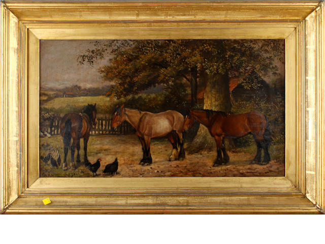English School, late 19th/early 20th Century A group of horses beside a tree