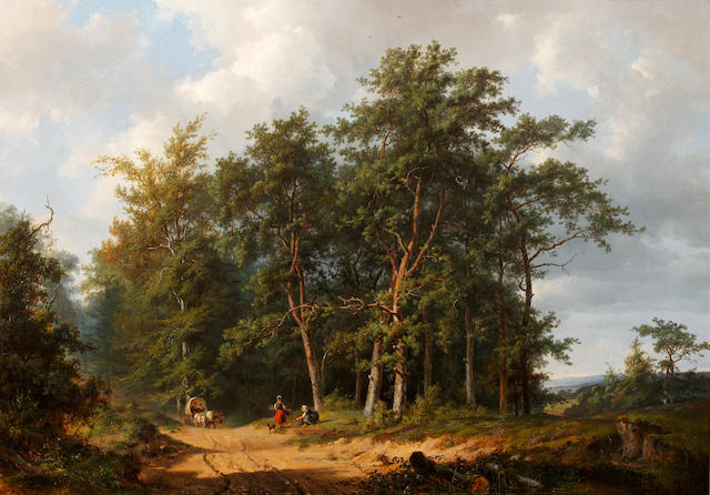 Frans Arnold Breuhaus de Groot (Dutch, 1824-1872) Horse and cart with figures on a track gathering firewood in a wooded landscape