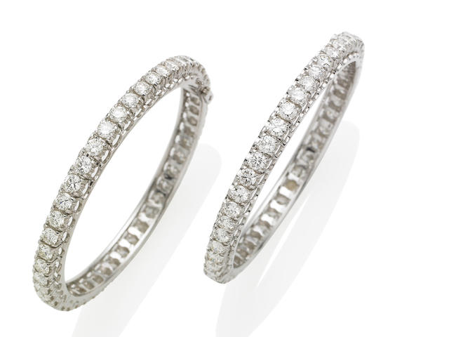 A pair of diamond bangles