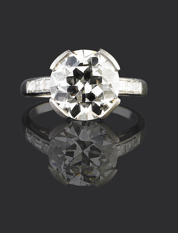 An art deco diamond single-stone ring, by Georges Lenfant,
