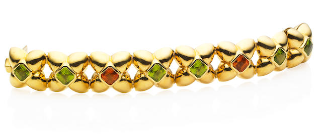An 18 carat gold peridot and citrine bracelet, by Boodle & Dunthorne
