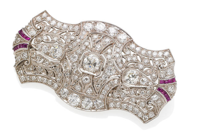 An art deco ruby and diamond brooch, circa 1925