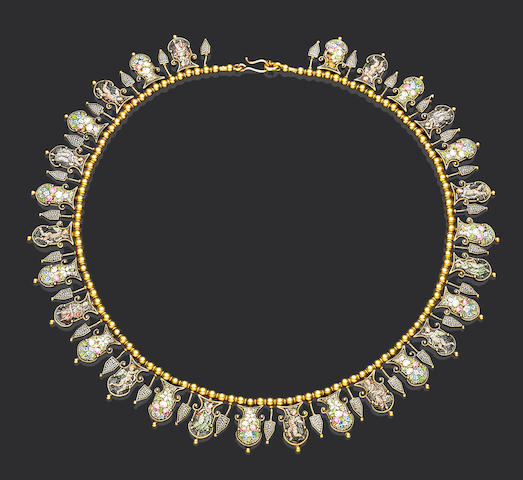 A gold micromosaic necklace,