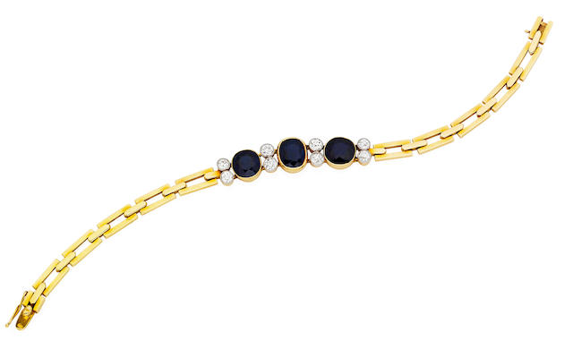 An early 20th century sapphire and diamond bracelet