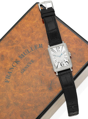 An 18 carat white gold and diamond lady's 'Long Island' wristwatch, by Franck Muller