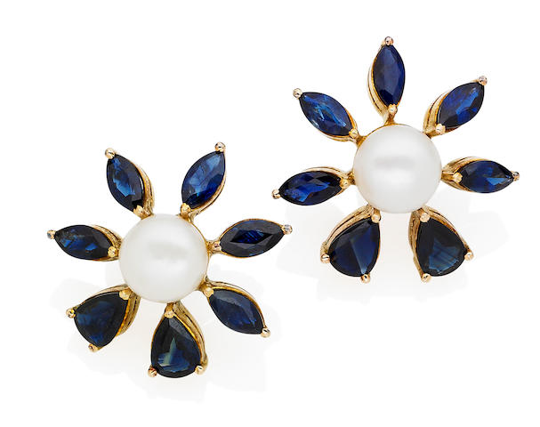 A pair of cultured pearl and sapphire earrings