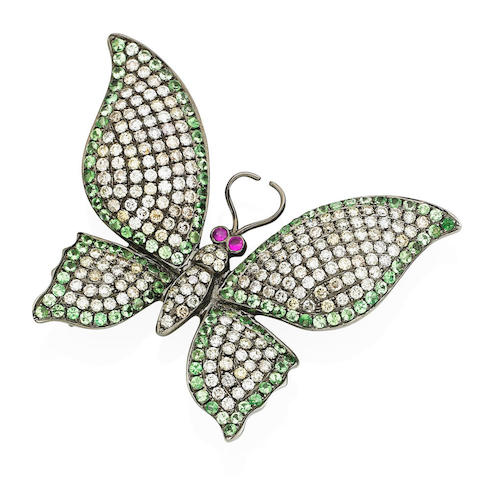 A diamond, ruby and tsavorite garnet butterfly brooch