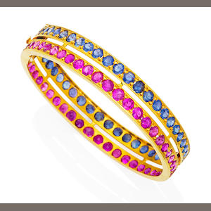A ruby and sapphire bangle