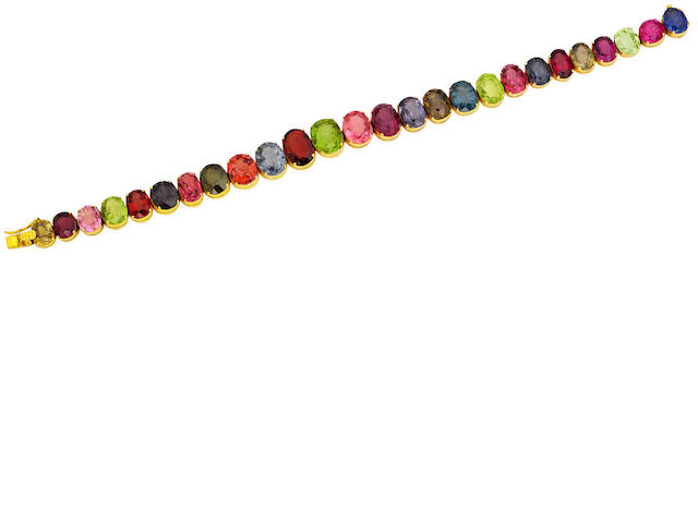 A multi-gem bracelet and necklace