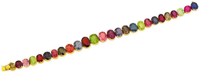 A multi-gem bracelet and necklace