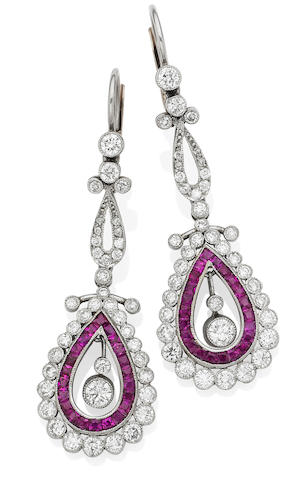 A pair of early 20th century ruby and diamond pendent earrings