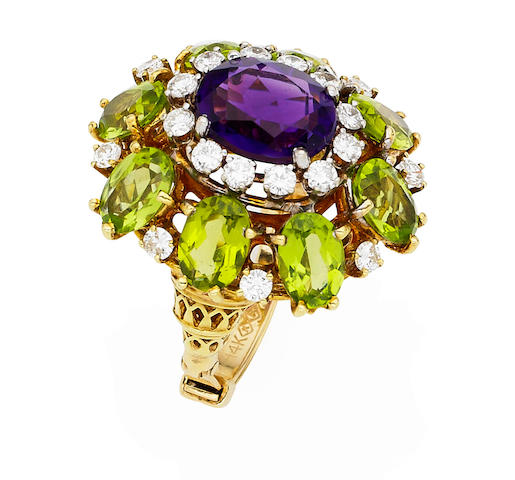 An amethyst, peridot and diamond cocktail ring