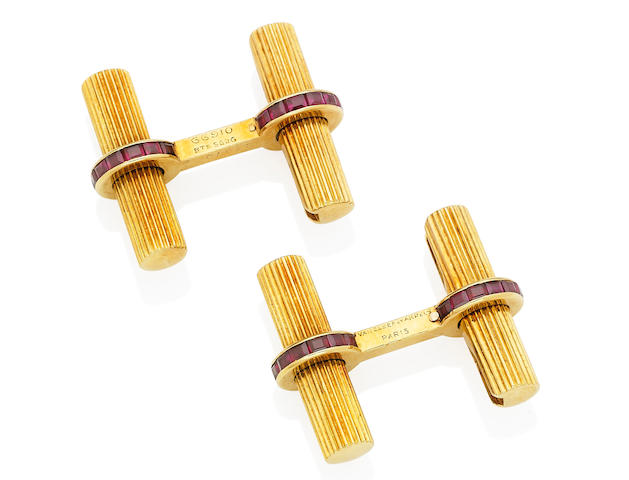 A pair of ruby cufflinks, by Van Cleef & Arpels