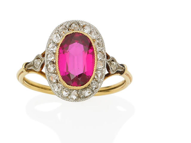 An antique synthetic ruby and diamond ring,