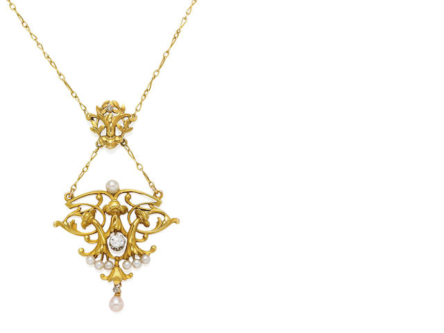 A pearl and diamond pendent necklace